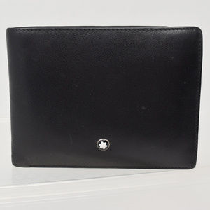 Montblanc Bifold Leather Wallet Men Pockets Black